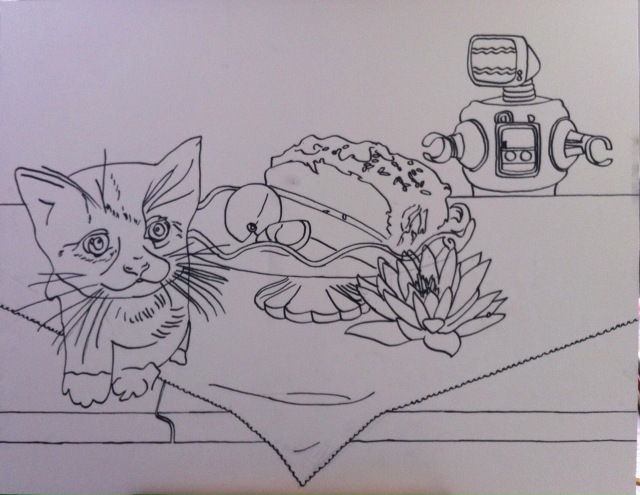 Robot Finds Kitten - Initial Drawing